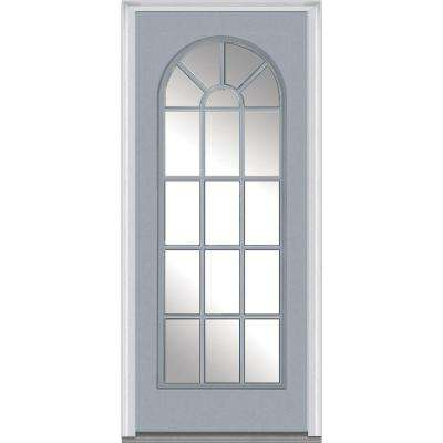 36 in. x 80 in. Right-Hand Inswing Full Lite Round Top Clear Classic Painted Steel Prehung Front Door