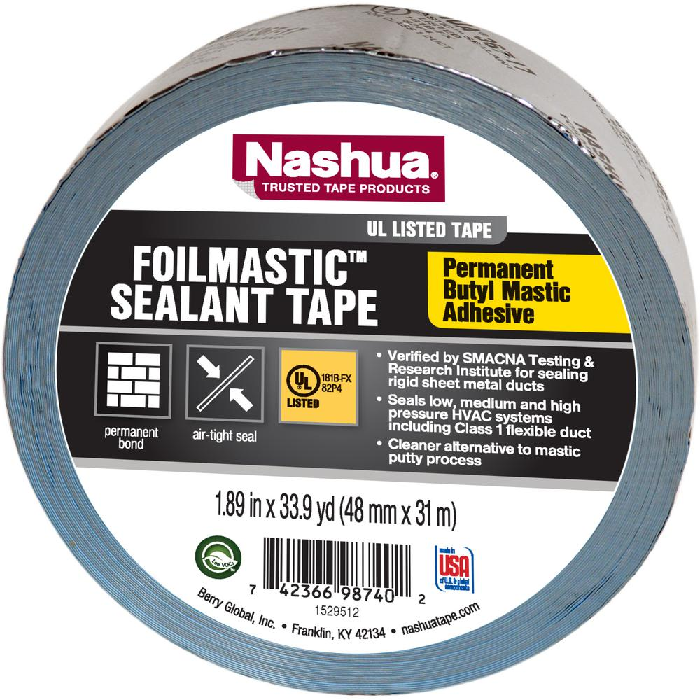 Nashua Tape 1 89 In X 33 9 Yd Foil Mastic Sealant Tape 1461664 The Home Depot