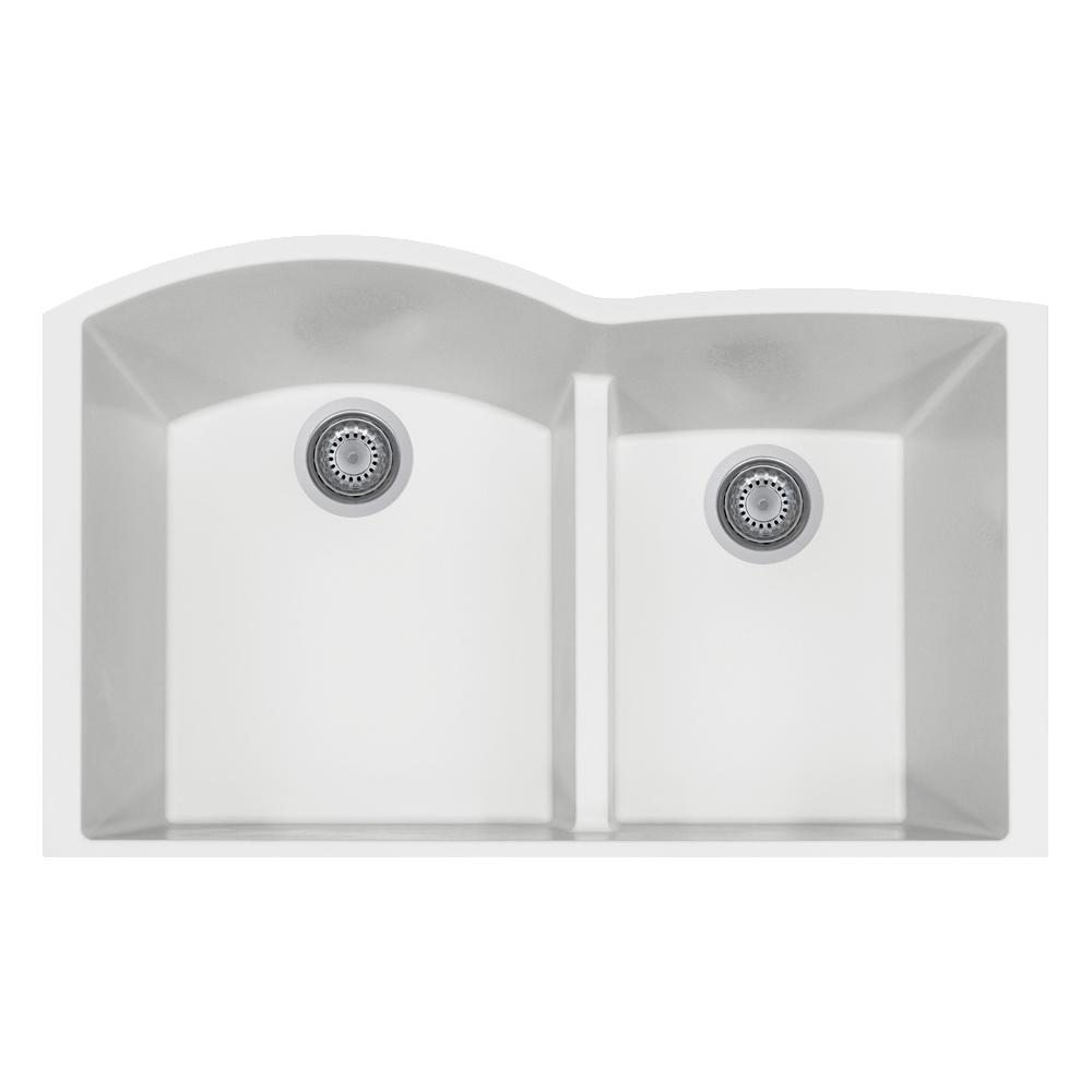 LaToscana Elegance Undermount Granite Composite 22 In. Double Bowl Kitchen  Sink In Milk White