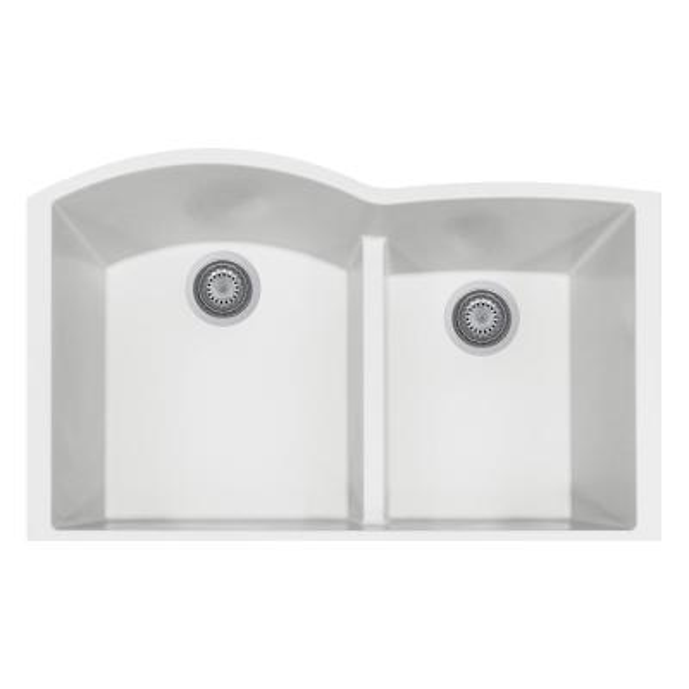 Elegance Undermount Granite Composite 22 in. Double Bowl Kitchen Sink in Milk White