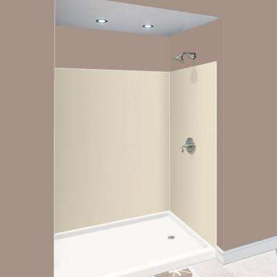 Expressions 48 in. x 60 in. x 72 in. 3-Piece Easy Up Adhesive Alcove Shower Wall Surround in Bisque