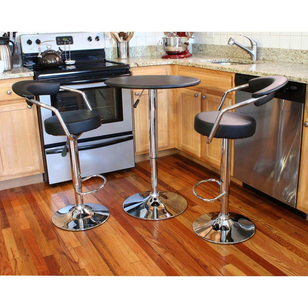 Retro Style Chrome Bar Table Set in Back with Adjustable Height