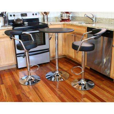 Retro Style Chrome Bar Table Set in Back with Adjustable Height Vinyl Padded Swivel Chairs (3-Piece)