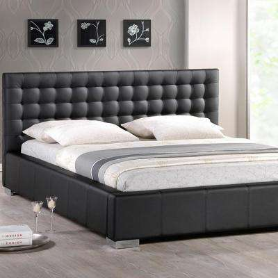Madison Transitional Black Faux Leather Upholstered Queen Size Bed
