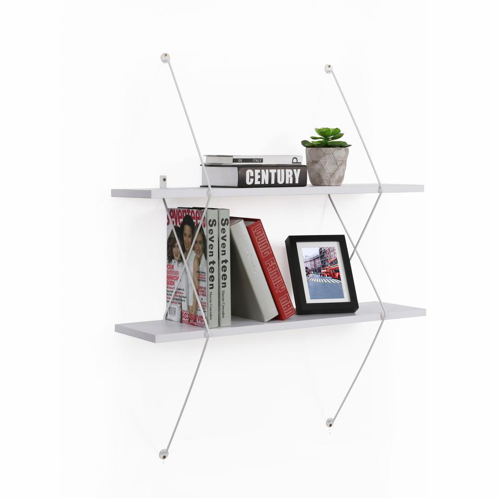 Contemporary 2-Level White Shelving System with White Wire Brackets