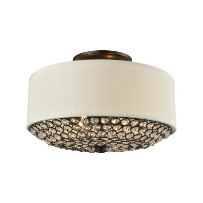 Webberville 2-Light Oil Rubbed Bronze with Beige Shade And Clear Crystals Semi-Flushmount