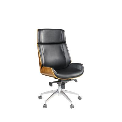 Amelia Black Bonded Leather Upholstered Casters Executive Office Chair