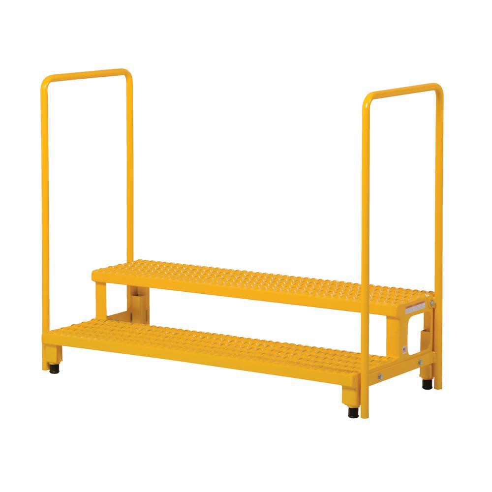 Vestil 48 inch x 23 inch 2-Step Adjustable Step Stand with Rail by Vestil