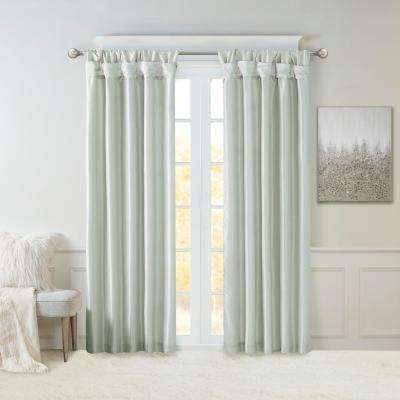 Natalie Dusty Aqua Faux Fur Room Darkening Twist Tab Lined Window Curtain 50 in. W x 120 in. L