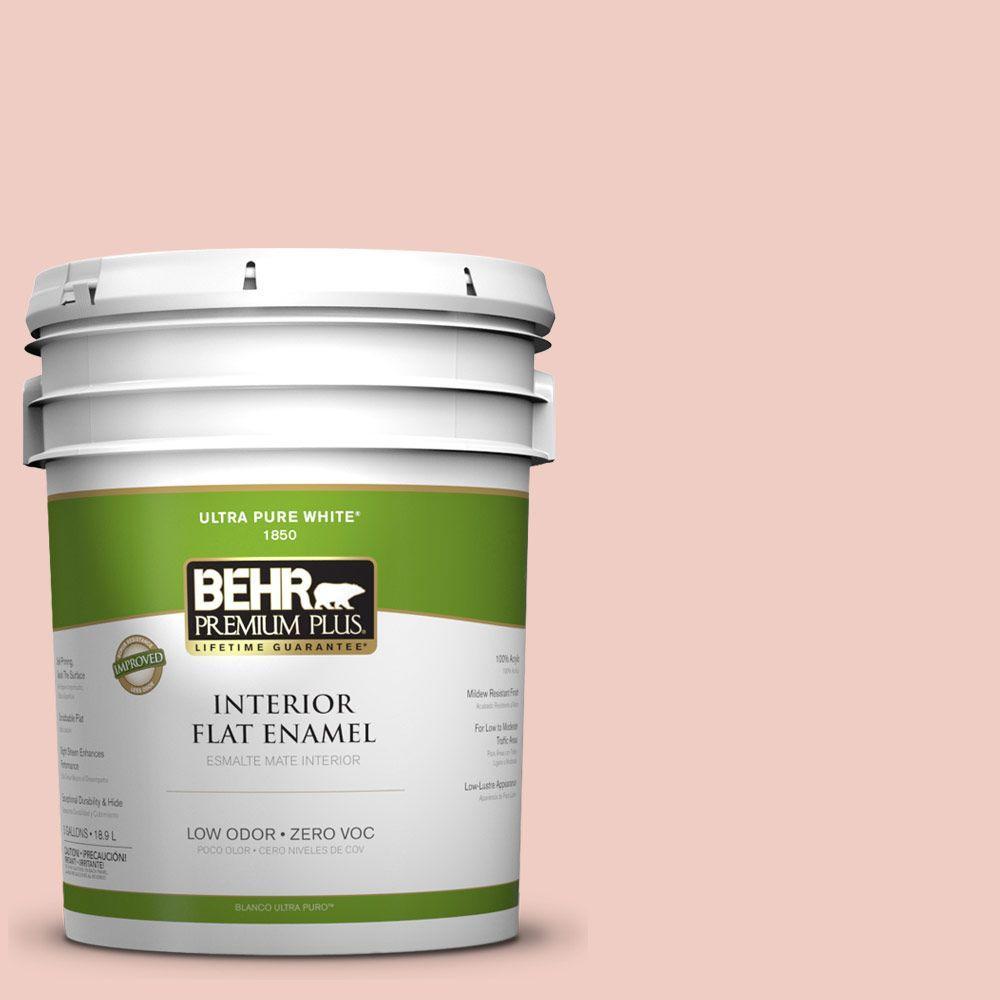BEHR Premium Plus 5-gal. #200E-2 Salmon Tint Zero VOC Flat Enamel Interior Paint-DISCONTINUED