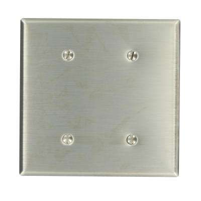 2-Gang No Device Blank Wallplate, Standard Size, 302 Stainless Steel, Strap Mount, Stainless Steel
