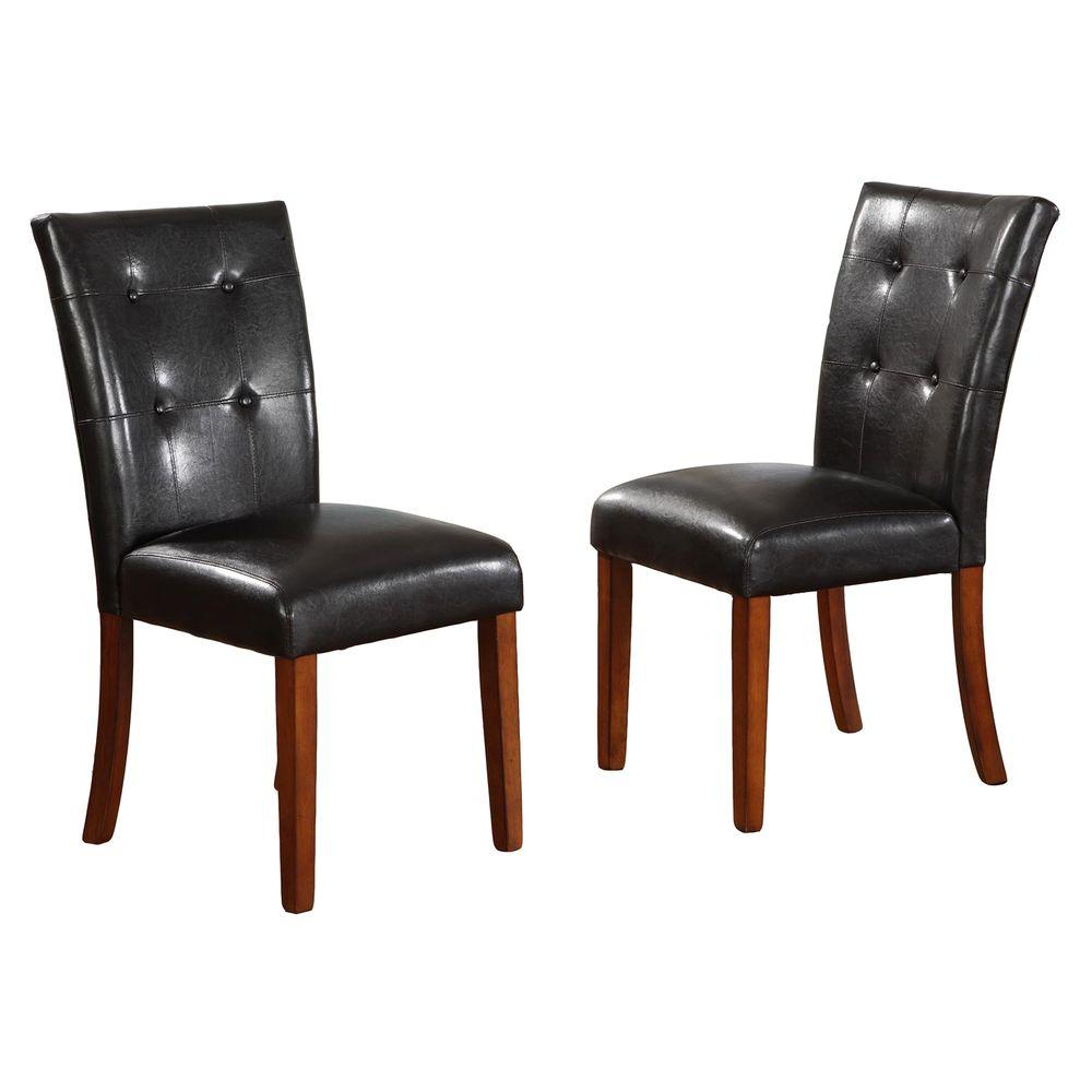 Home Decorators Collection 18 in. H Black Tufted Leather Parson Side Chairs (Set of 2) - DISCONTINUED