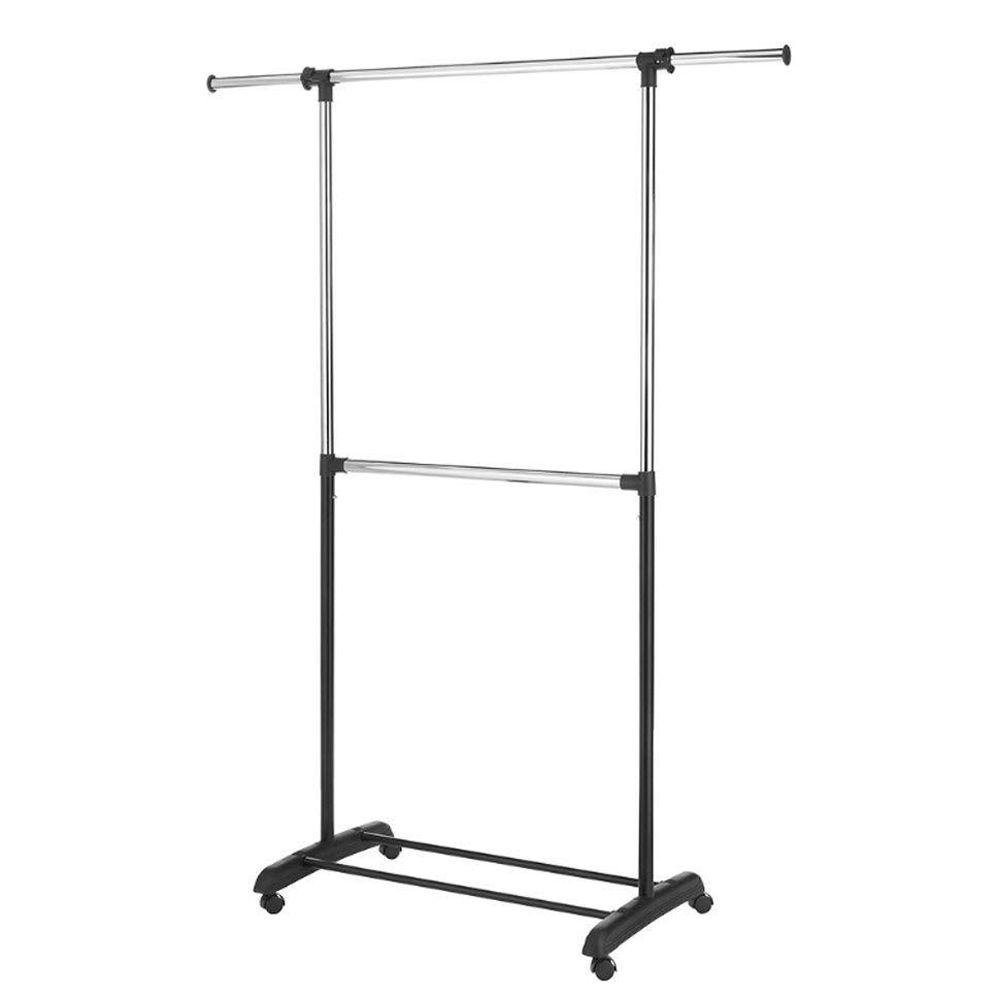 Home Decorators Collection Adjustable 2-Rod Garment Rack in Chrome