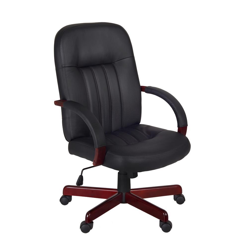 Ethos Mahogany and Black Swivel Chair