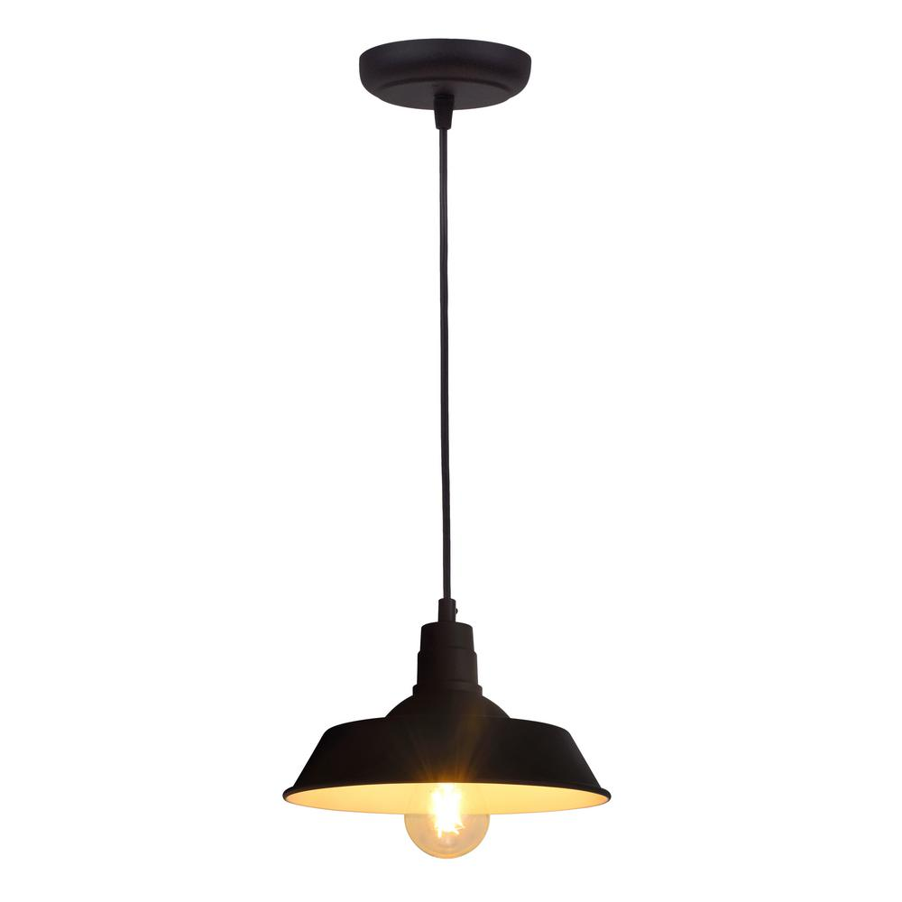 Sylvania Hudson 1-Light Antique Black Ceiling Factory Pendant with Edison LED Light Bulb Included, California Only