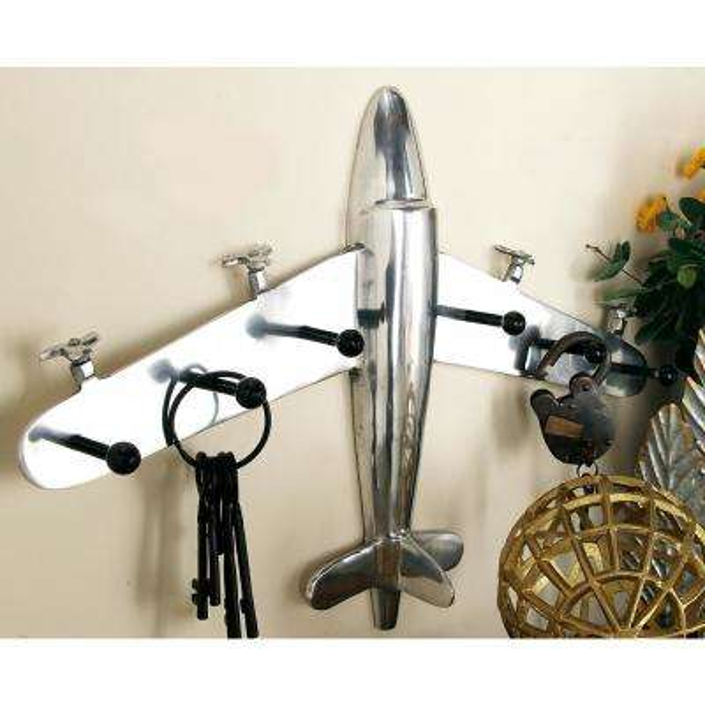 25 in. x 18 in. Vintage Airplane Aluminum Wall Hook Rack