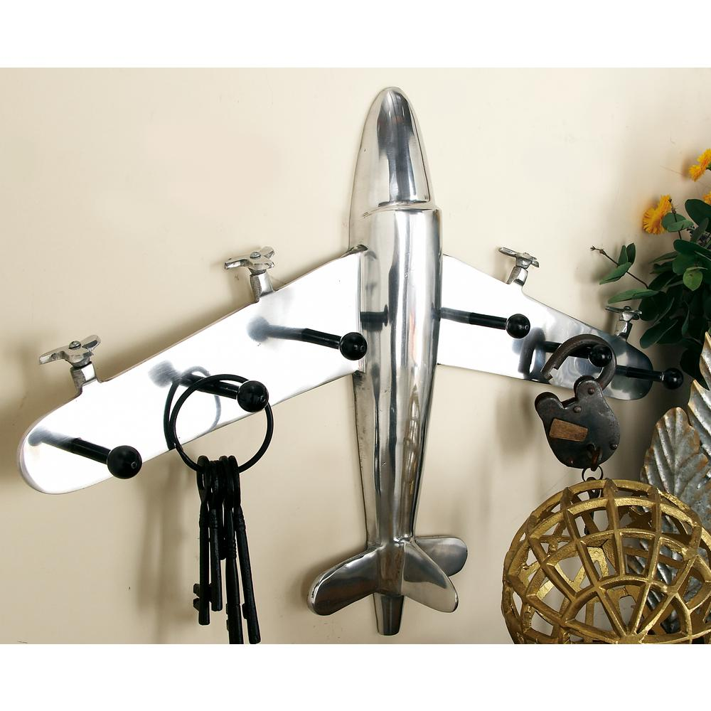 25 in. x 18 in. Vintage Airplane Aluminum Wall Hook Rack