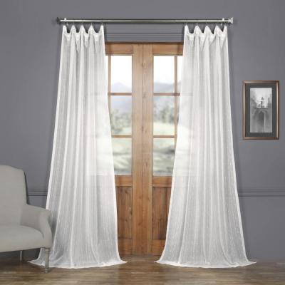 Montpellier White Striped Linen Sheer Curtain - 50 in. W x 108 in. L