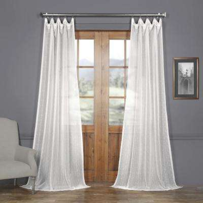 Montpellier White Striped Linen Sheer Curtain - 50 in. W x 96 in. L