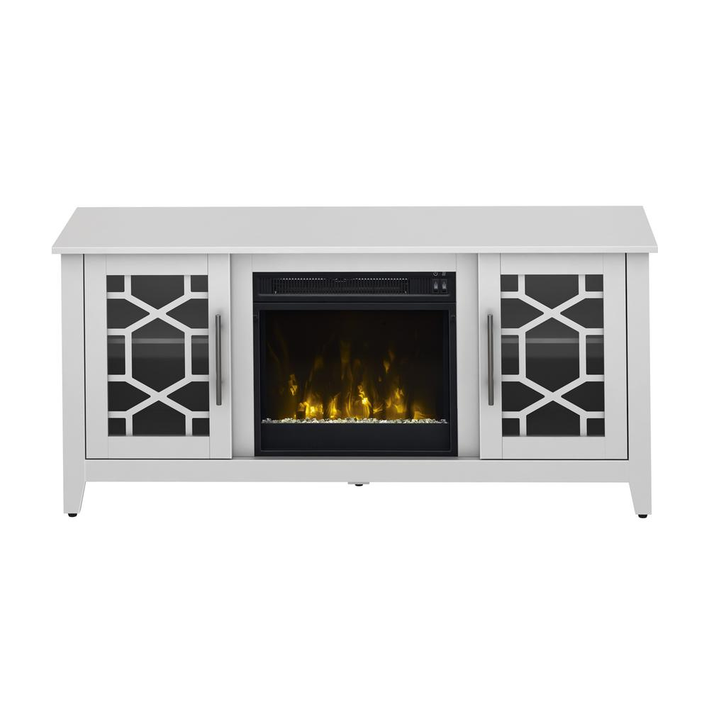 Clarion 54 In Media Console Electric Fireplace In White 18mm8951