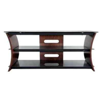56 in. Caramel Brown Wood TV Console Fits TVs Up to 60 in. with Cable Management