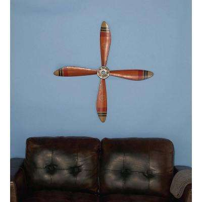 34 in. x 34 in. Red Propeller Iron Wall Decor