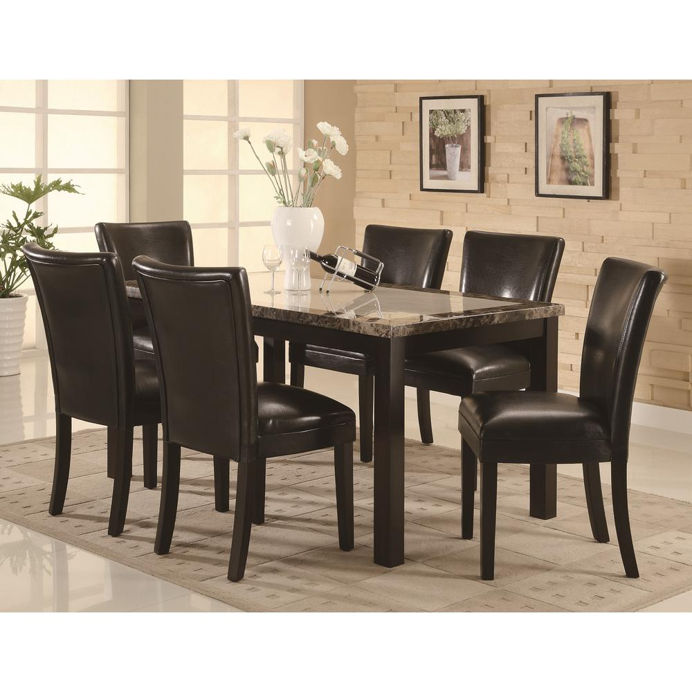 Coaster carter collection black cappuccino parson chair for Furniture coasters home depot