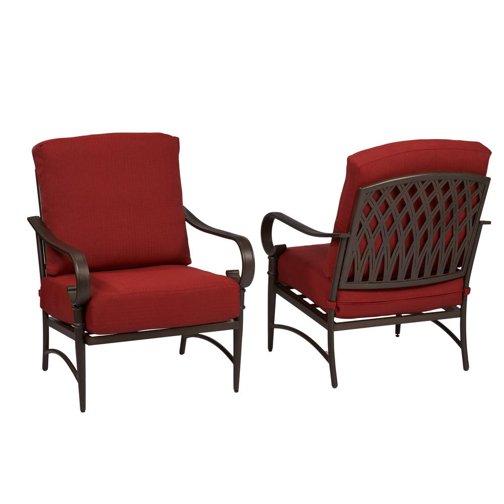 Bon Hampton Bay Oak Cliff Stationary Metal Outdoor Lounge Chair With Chili  Cushion (2 Pack