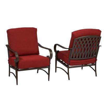 Oak Cliff Stationary Metal Outdoor Lounge Chair with Chili Cushion (2-Pack)