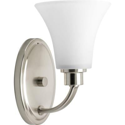 Joy Collection 1-Light Brushed Nickel Bath Sconce with Etched Glass Shade