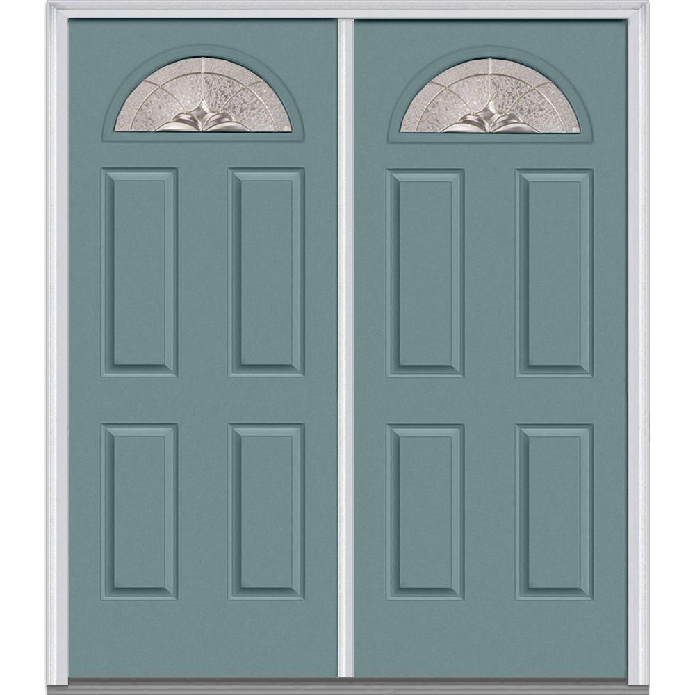 Milliken Millwork 72 in. x 80 in. Heirloom Master Decorative Glass 1/4 Lite Painted Builder's Choice Steel Double Prehung Front Door
