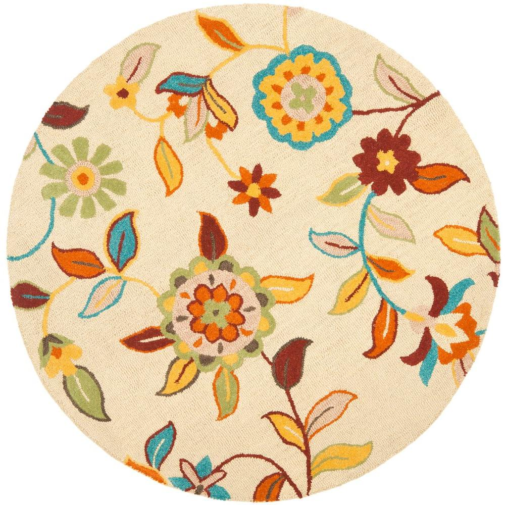 Blossom Beige/Multi 6 ft. x 6 ft. Round Area Rug