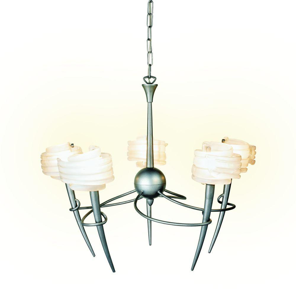 Eurofase Viola Collection 5-Light 94 in. Hanging Crackled Silver Chandelier-DISCONTINUED