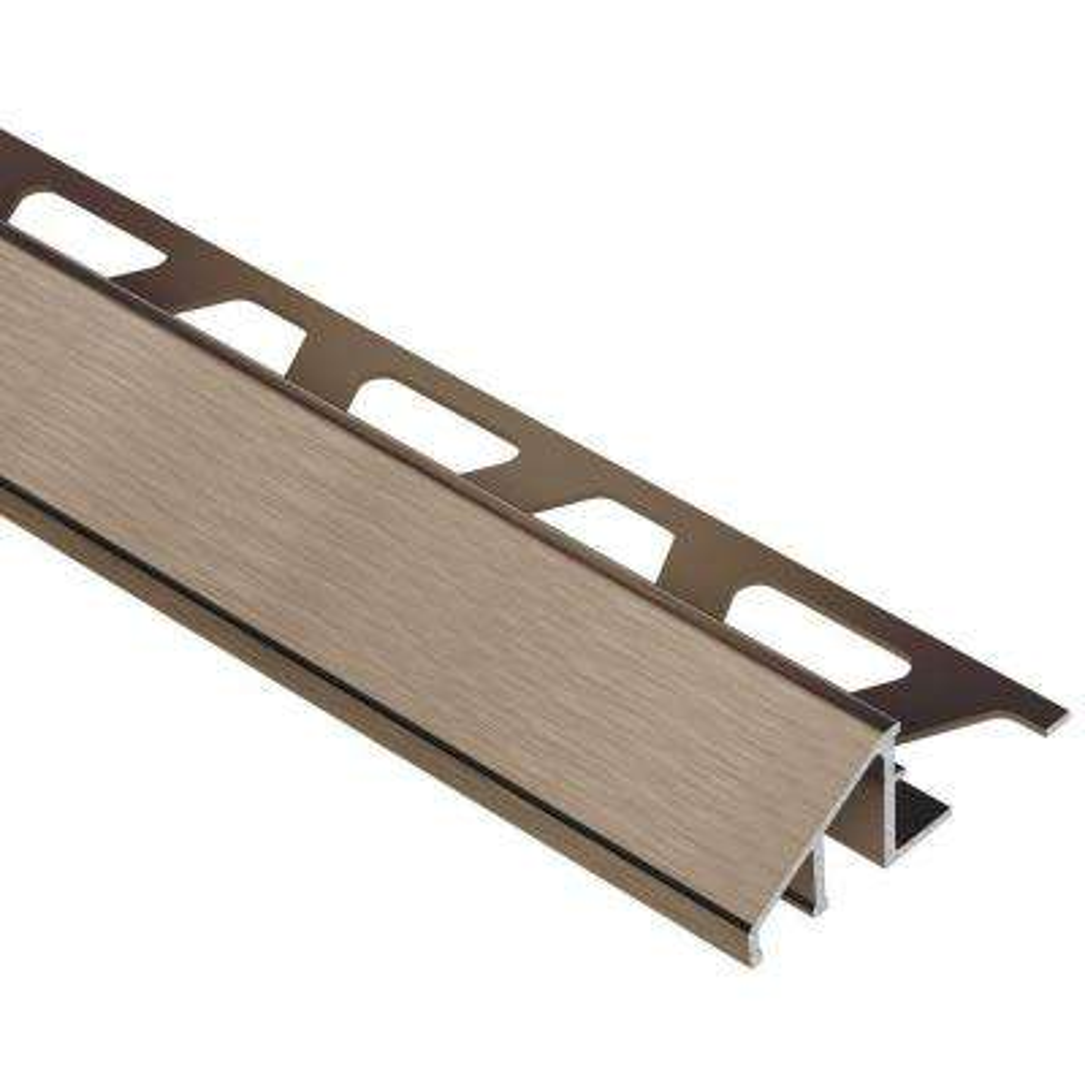 Reno-U Brushed Antique Bronze Anodized Aluminum 1/2 in. x 8 ft. 2-1/2 in. Metal Reducer Tile Edging Trim