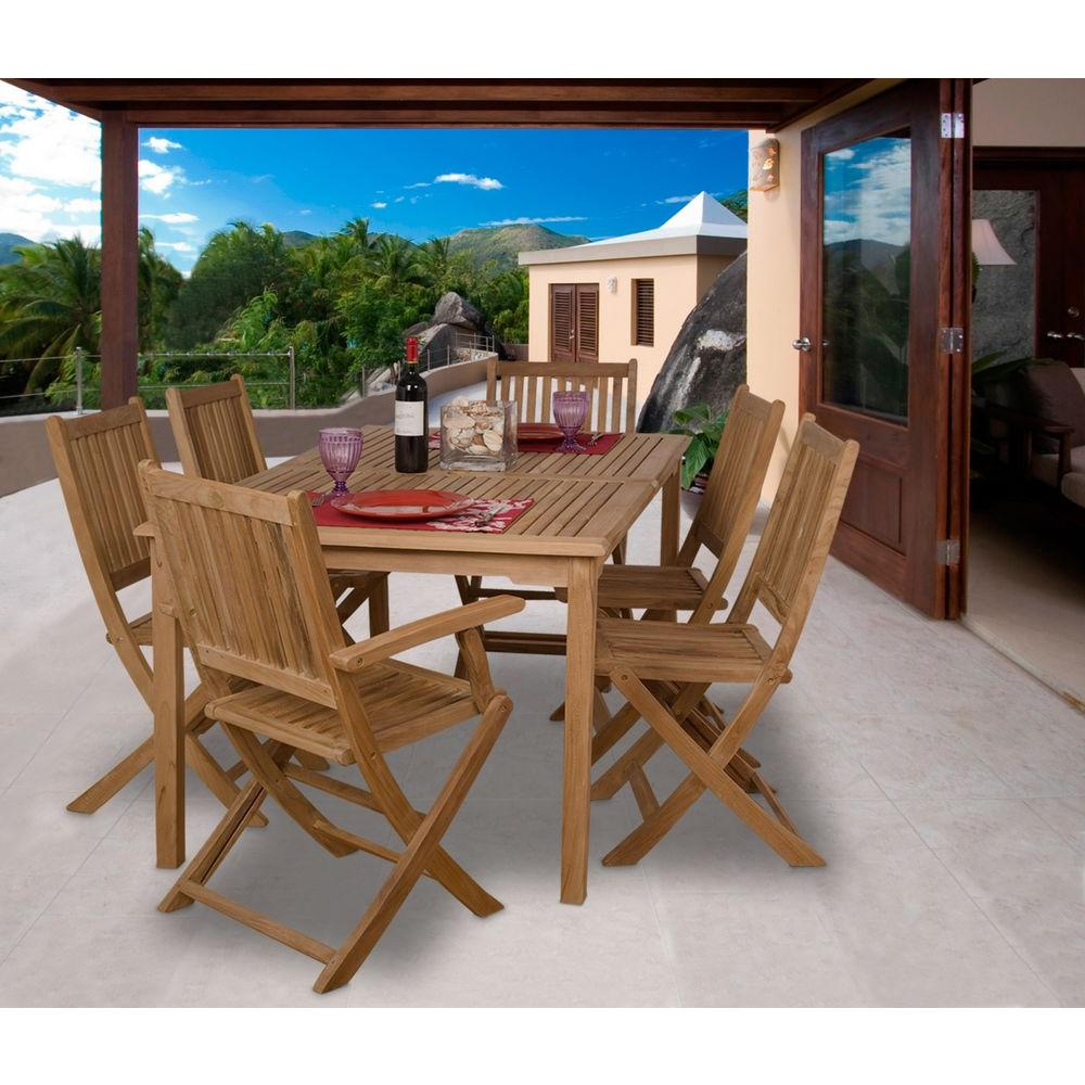 Amazonia Rotterdam 7 Piece Teak Patio Dining Set