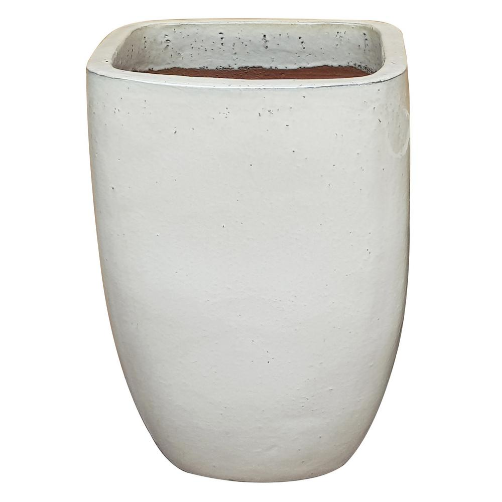 12 in. Dia Cream White Quadrato Sq Pot