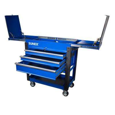 37 in. 3-Drawer Slide Top Utility Cart in Blue
