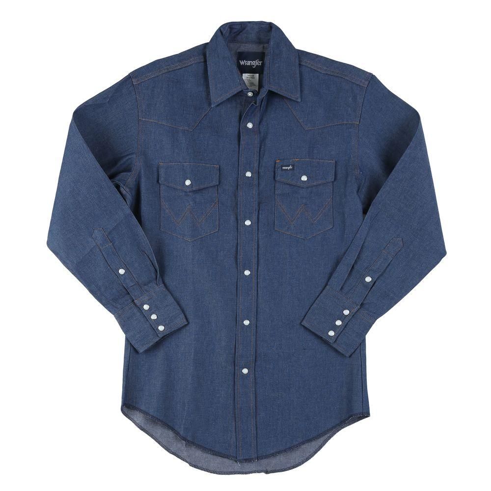 Wrangler 175 In X 34 In Mens Cowboy Cut Western Work Shirt