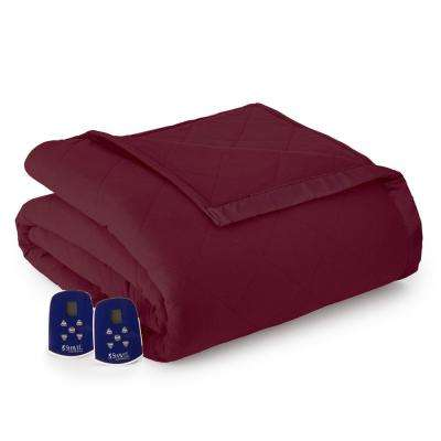Queen Wine Electric Heated Comforter/Blanket