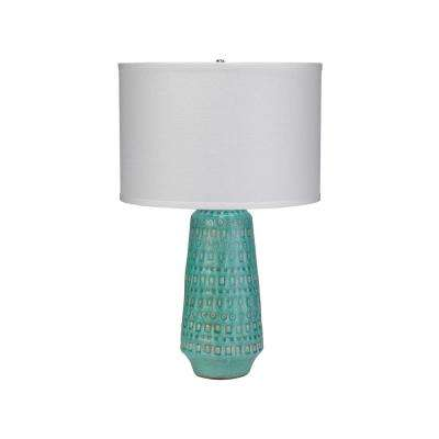 24 in. Turquoise Large Coco Table Lamp with Shade