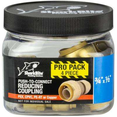 3/4 in. x 1/2 in. Brass Push-to-Connect Reducer Coupling (4-Pack)