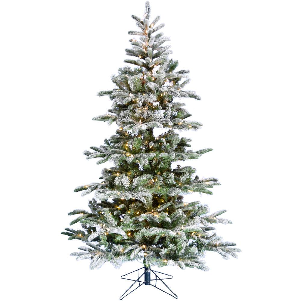 Frosted Slim Christmas Tree: Fraser Hill Farm 7.5 Ft. Pre-Lit LED Nordic Frost Frosted