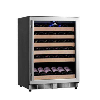 Single Zone 23.42 in. 46-Bottle Stainless Steel Wine Cooler