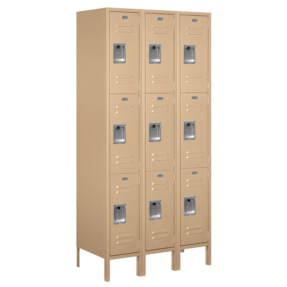 Salsbury Industries 63000 Series 36 in. W x 78 in. H x 18 in. D - Triple Tier Metal Locker Assembled in Tan