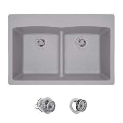 All-in-One Drop-in Granite Composite 33 in. 5-Hole Low-Divide Equal Double Bowl Kitchen Sink in Silver