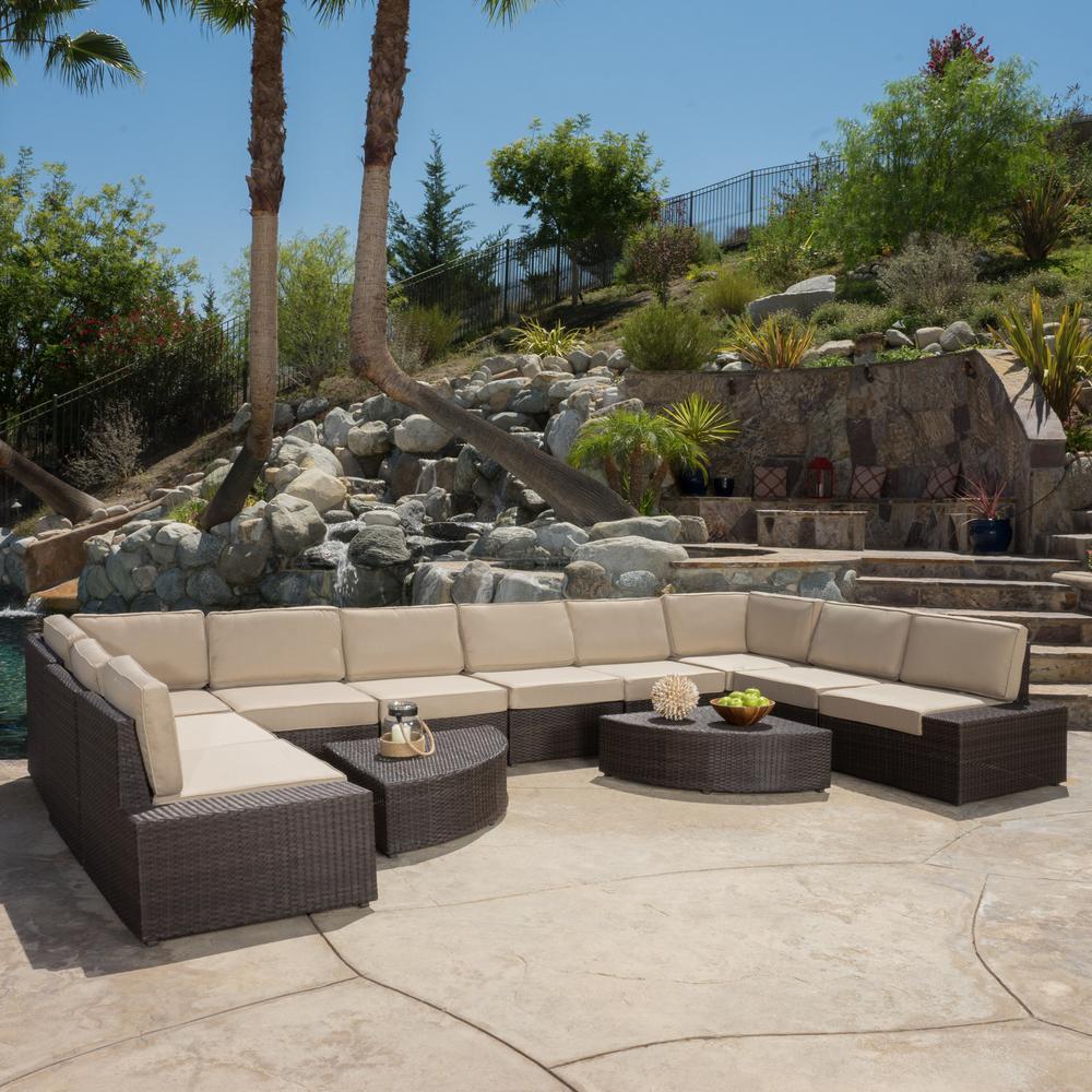 Noble House Santa Cruz Dark Brown 12-Piece Wicker Outdoor Sectional Set with Beige Cushions
