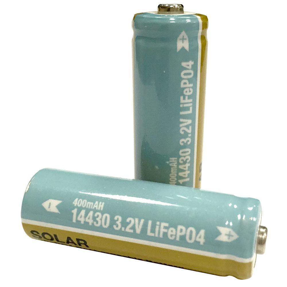 Hampton Bay Lithium Phosphate 400mAh Solar Rechargeable 14430 Batteries (2-Pack)
