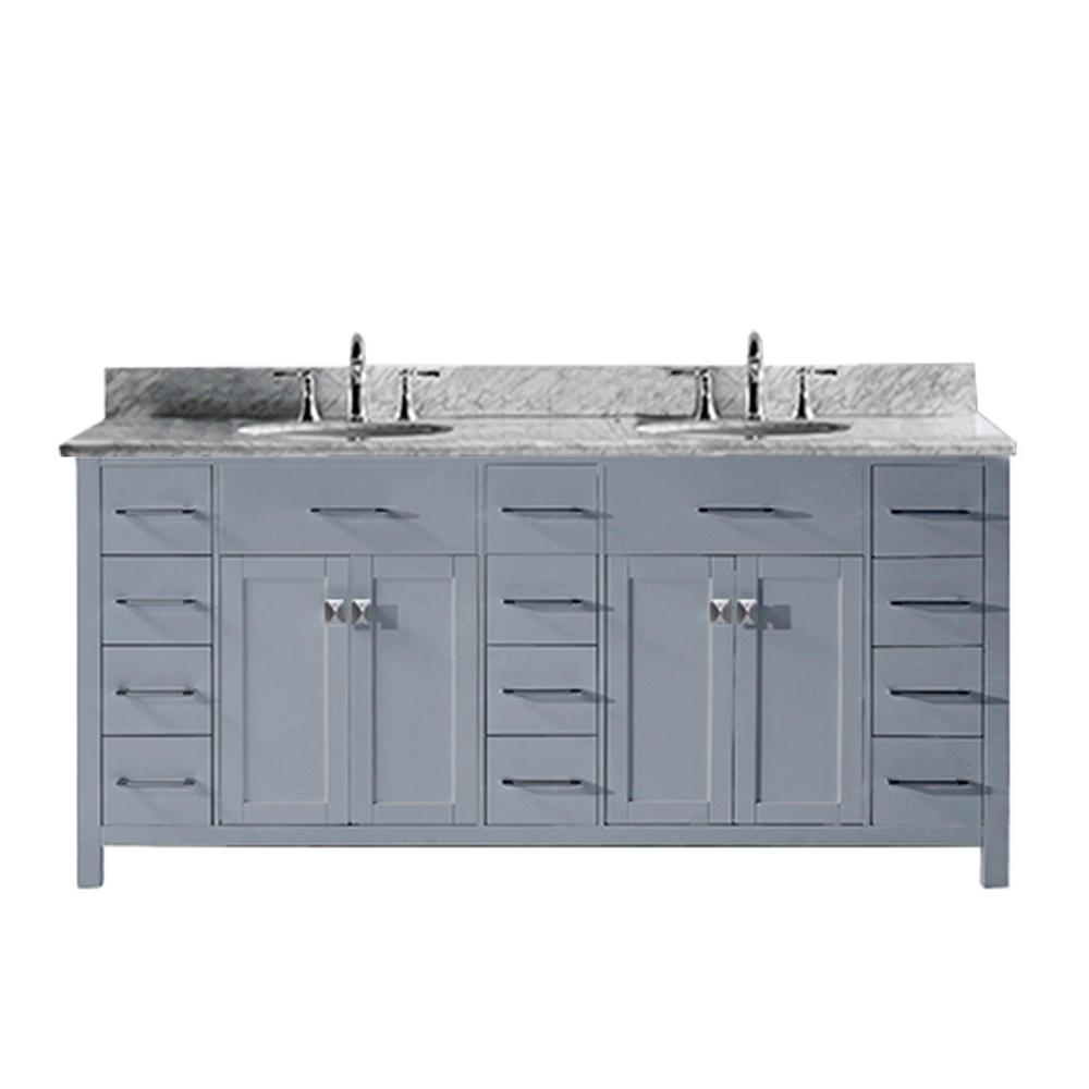 Virtu USA Caroline Parkway 72 in. W Bath Vanity in Gray with Marble Vanity Top in White with Round Basin