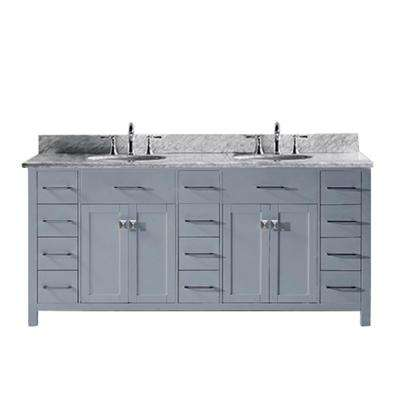 Caroline Parkway 72 in. W Bath Vanity in Gray with Marble Vanity Top in White with Round Basin