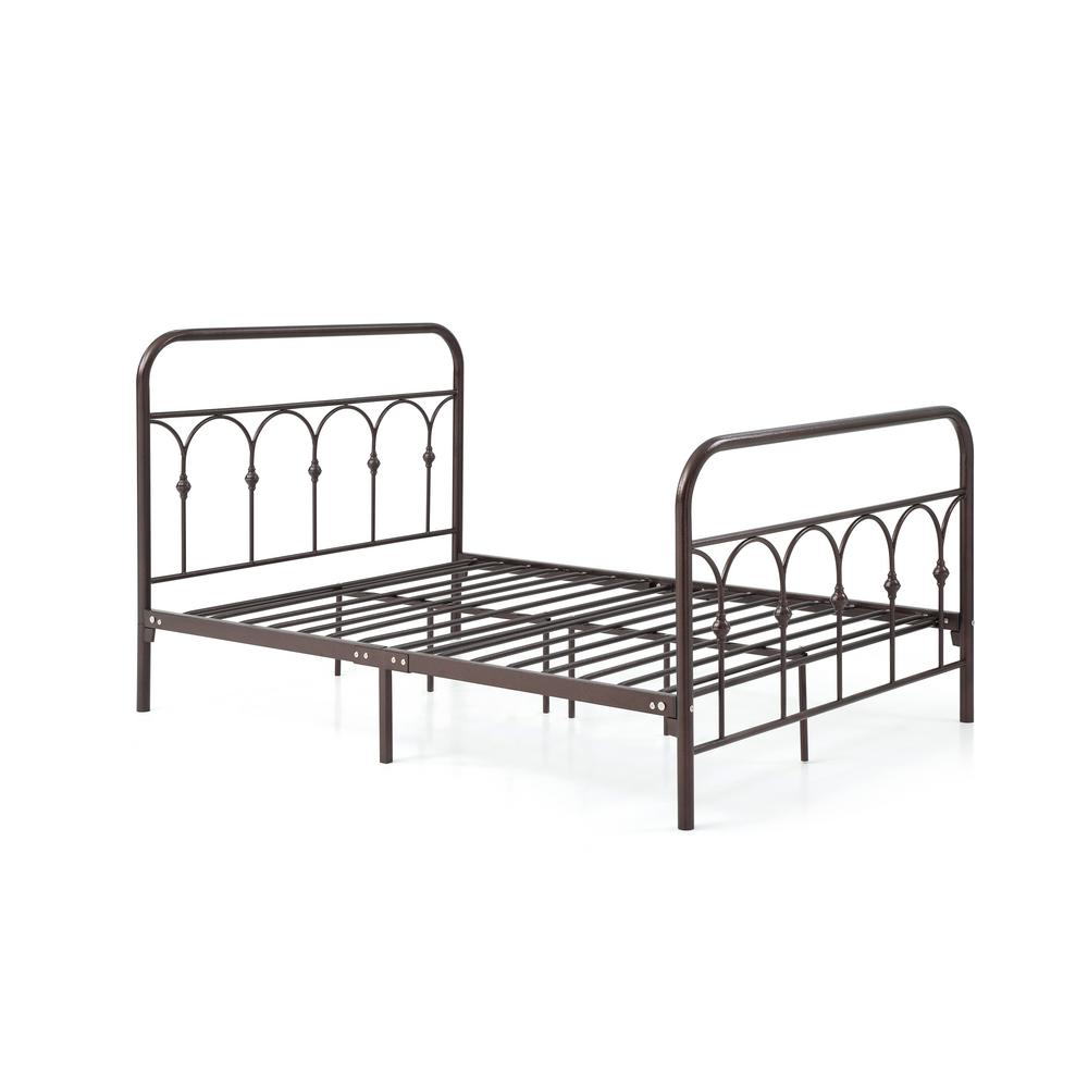 HODEDAH Complete Metal Bronze Queen Bed with Headboard, Footboard, Slats  and Rails